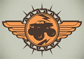 Emblem with monster truck.
