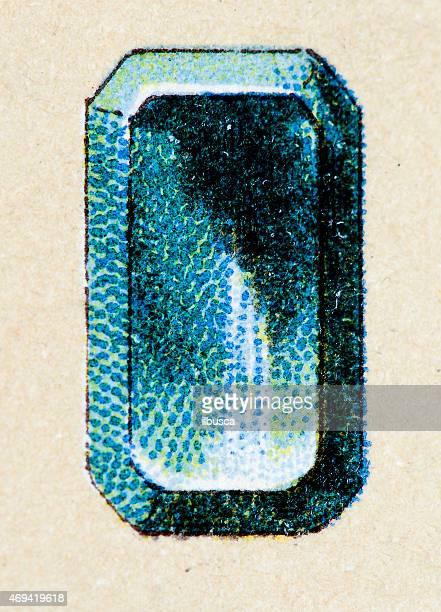Emerald, mineral stone antique illustration