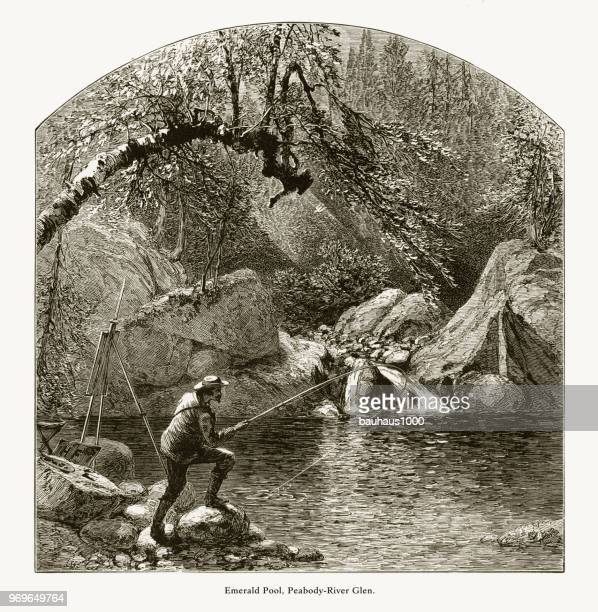 Emerald Pool, Peabody River Glen, White Mountains, New Hampshire, United States, American Victorian Engraving, 1872