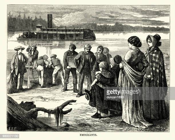 Emigrants disembarking from a steamboat, 19th Century America