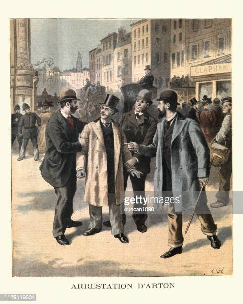 emile arton being arrest for fraud, london, 19th century - new scotland yard stock illustrations