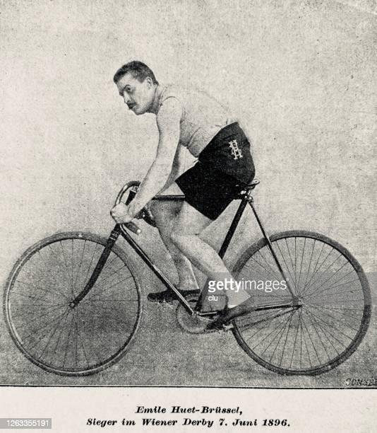 stockillustraties, clipart, cartoons en iconen met emile hust, belgië, fietser, zittend op zijn racefiets - gravure gefabriceerd object