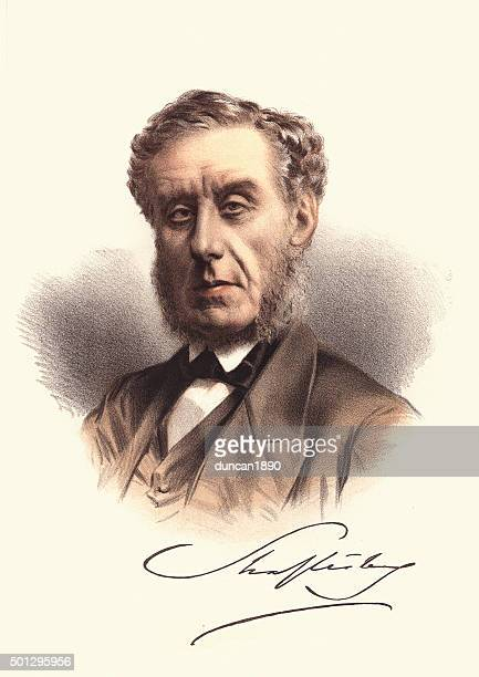 eminent victorians - portrait of anthony ashley-cooper, 7th earl - peerage title stock illustrations