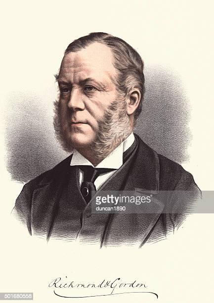 bildbanksillustrationer, clip art samt tecknat material och ikoner med eminent victorians - portrait of charles gordon-lennox, 6th duke - duke