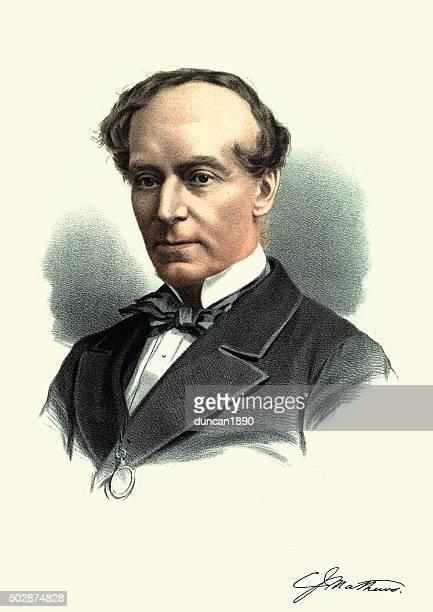 eminent victorians - portrait of charles james mathews - james charles entertainer stock illustrations