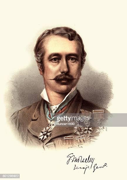 eminent victorians - portrait of field marshal garnet wolseley - general military rank stock illustrations