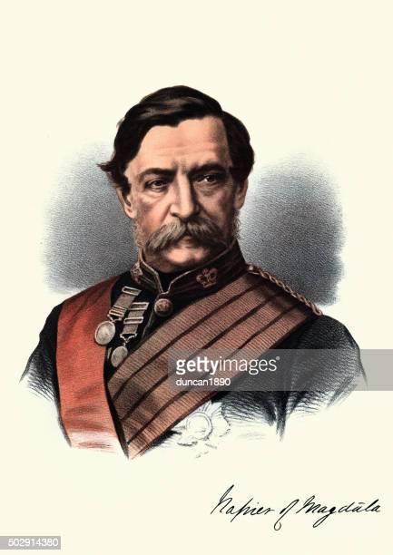 angesehene häuser im viktorianischen stil-porträt von field marschall robert napier - general stock-grafiken, -clipart, -cartoons und -symbole