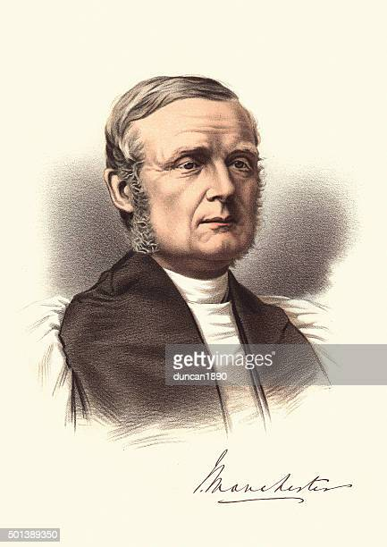 ilustraciones, imágenes clip art, dibujos animados e iconos de stock de eminente aristócratas victorianos-retrato de james fraser bishop de manchest - bishop clergy