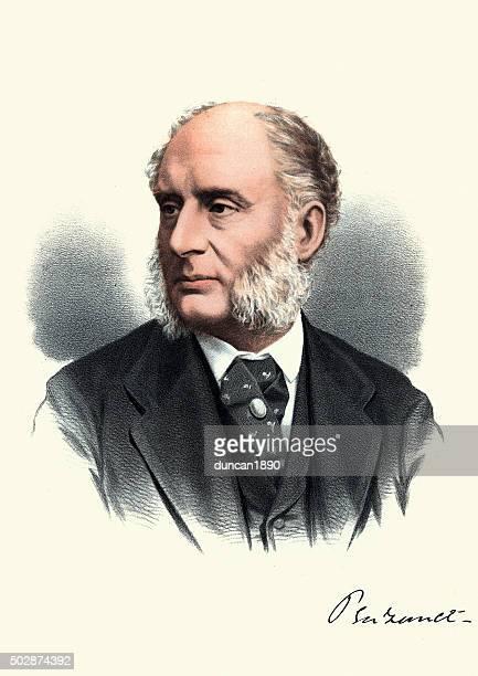 eminent victorians - portrait of james wilde, 1st baron penzance - judge entertainment stock illustrations