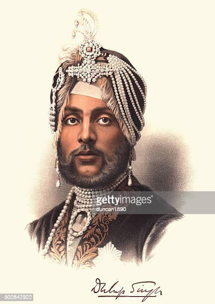 eminent victorians - portrait of maharajah duleep singh - fine art portrait stock illustrations, clip art, cartoons, & icons