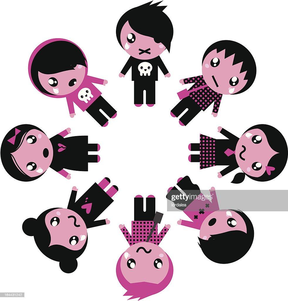 Emo kids circle isolated on white