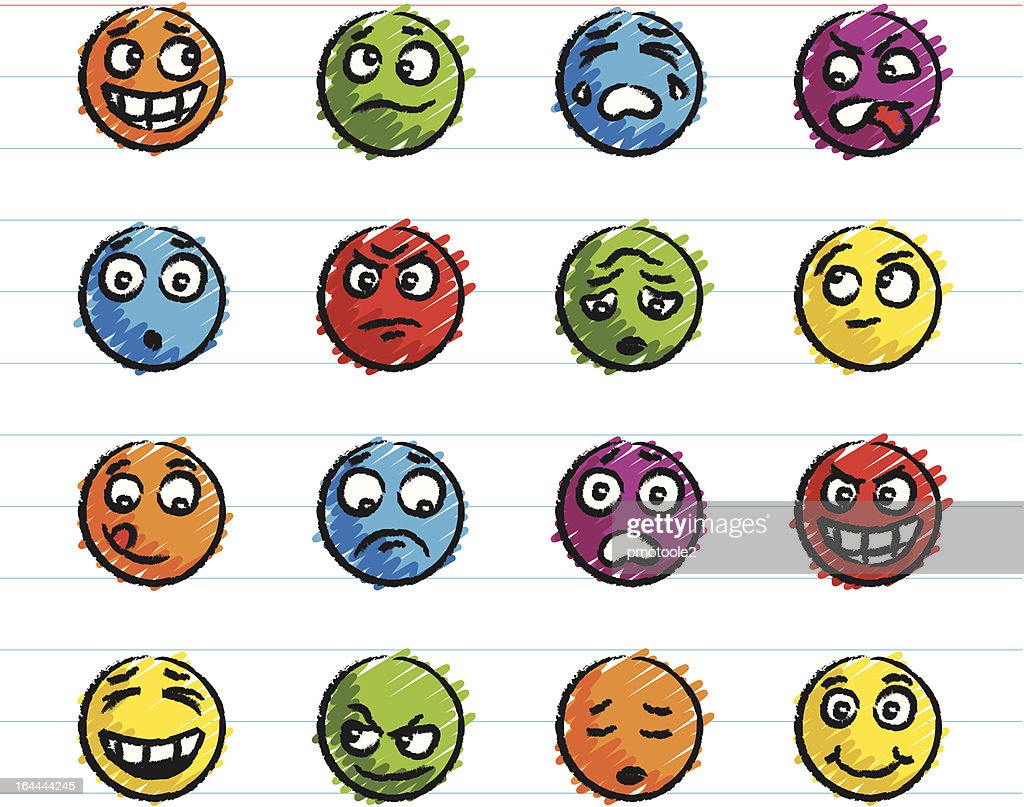 Emotion Icons Drawn with Crayon