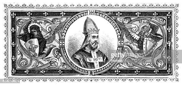 emperor and pope - bishop clergy stock illustrations, clip art, cartoons, & icons