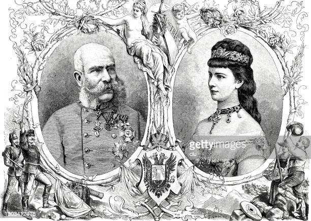 emperor franz josef i of austria and empress elisabeth of austria - franz joseph i of austria stock illustrations