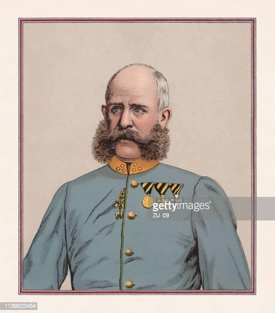 emperor franz joseph i of austria (1830-1916), chromolithograph, published 1888 - hapsburg dynasty stock illustrations