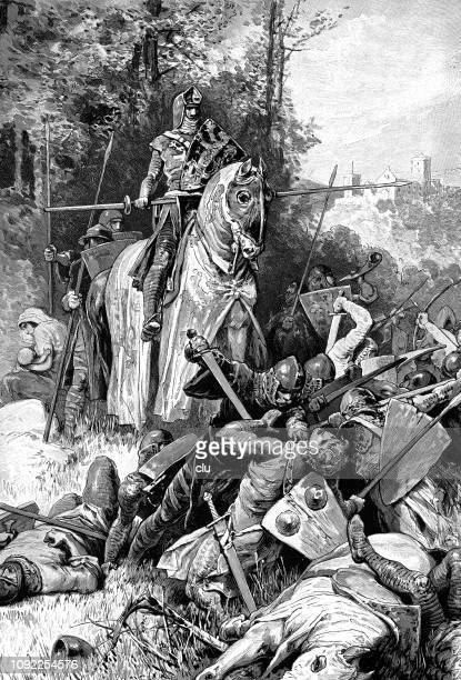 emperor friedrich stops the enemies while his daughter drinks with the nurse - family fighting cartoon stock illustrations