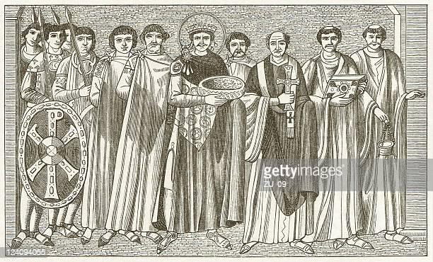 ilustrações, clipart, desenhos animados e ícones de justiniano e maximianus - bishop clergy