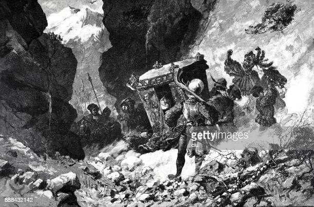 emperor karl v fleeing from moritz of saxony: he sits in a horse carriage high up in the mountains, surrounded by his servants. - surrounding stock illustrations, clip art, cartoons, & icons