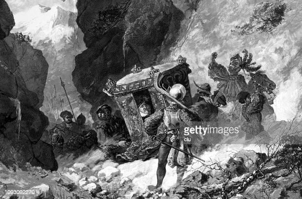 emperor karl v fleeing from moritz of saxony - surrounding stock illustrations, clip art, cartoons, & icons