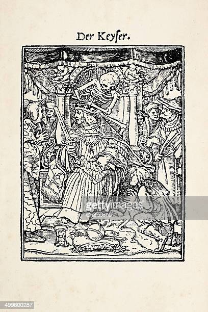 emperor on throne with skeleton from dance of death - tarot cards stock illustrations, clip art, cartoons, & icons