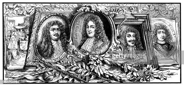 emperors charles xi of sweden, king louis xiv ,frederick william ,leopold i - louis xiv of france stock illustrations, clip art, cartoons, & icons