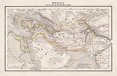 Empire of Alexander the Great, hand-coloured steel engraving,published 1861