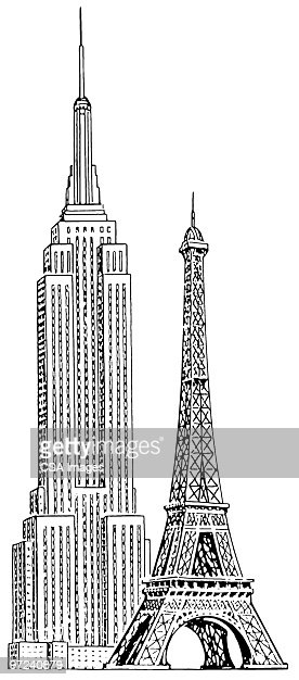 empire state building and eiffel tower stock illustration getty images. Black Bedroom Furniture Sets. Home Design Ideas
