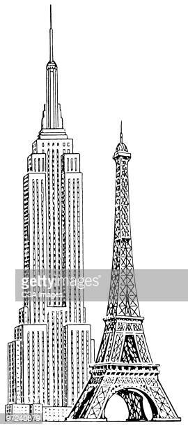 empire state building and eiffel tower - tall high stock illustrations
