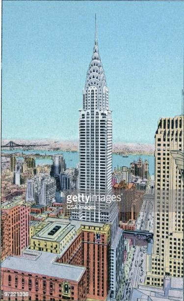 empire state building - tall high stock illustrations