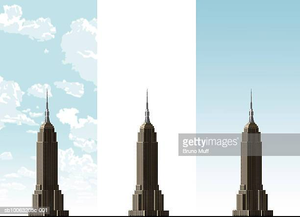 empire state building on three different sky backgrounds - empire state building stock illustrations, clip art, cartoons, & icons