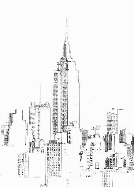 empire state building  photographic line drawing