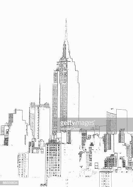 empire state building  photographic line drawing - empire state building stock illustrations, clip art, cartoons, & icons