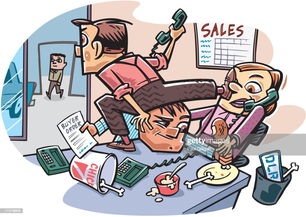Employees in the sales department fighting with each other while a customer walks in : Illustration
