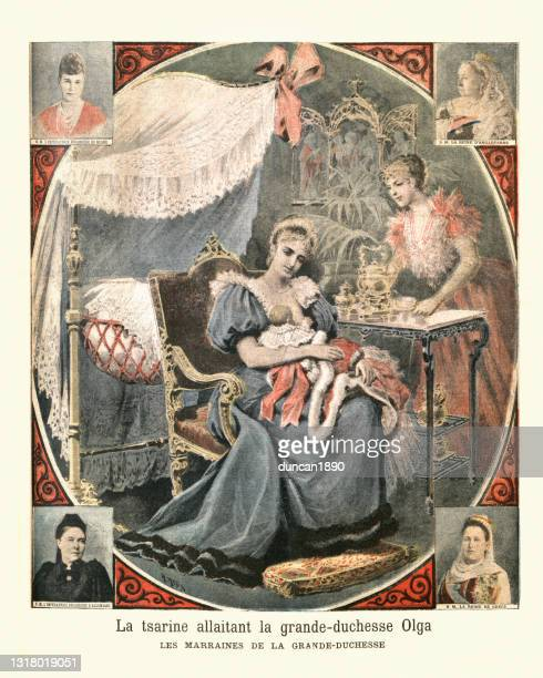 empress alexandra feodorovna of russia nursing the grand duchess olga nikolaevna - grand duchess stock illustrations