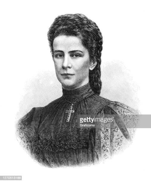 ilustraciones, imágenes clip art, dibujos animados e iconos de stock de emperatriz isabel de austria y baviera 1899 - emperatriz