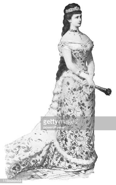 empress elisabeth of austria - austro-hungarian empire 18th century - traditionally hungarian stock illustrations