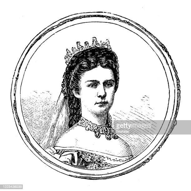 empress elisabeth of austria (1837 - 1898) - hapsburg dynasty stock illustrations