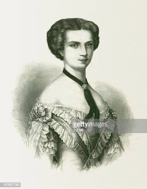 empress elisabeth of austria (1837-1898), lithograph, published in 1852 - empress stock illustrations, clip art, cartoons, & icons