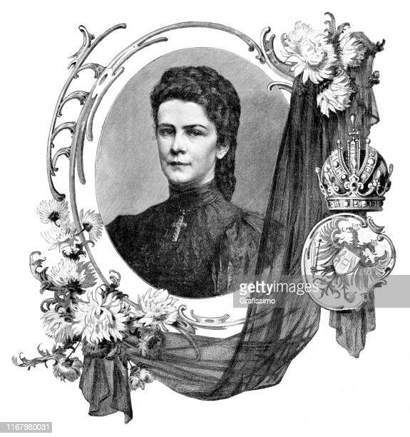 empress elizabeth i of austria and queen of hungary known as sissi - empress stock illustrations, clip art, cartoons, & icons