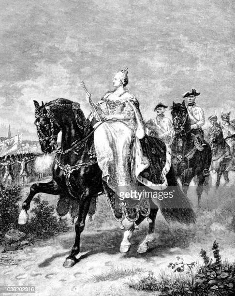 empress maria theresa on horseback - empress stock illustrations, clip art, cartoons, & icons