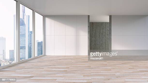 empty apartment with wooden floor, 3d rendering - loft apartment stock illustrations, clip art, cartoons, & icons