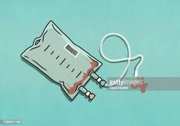 empty blood transfusion bag - illustration stock illustrations