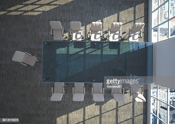 empty conference room seen from above, 3d rendering - conference table stock illustrations, clip art, cartoons, & icons