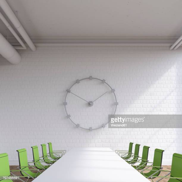 empty conference room with oversized wall clock, 3d rendering - conference table stock illustrations, clip art, cartoons, & icons