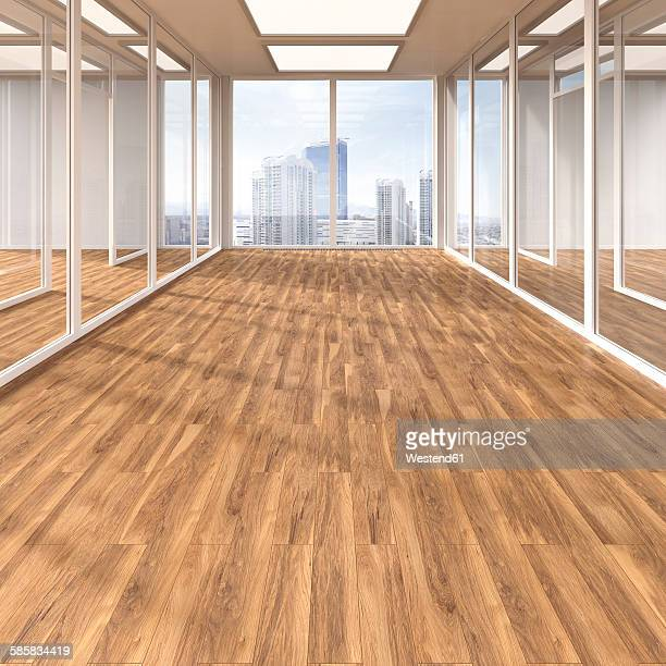empty conference room with parquet and glass partitions, 3d rendering - 2015 stock illustrations
