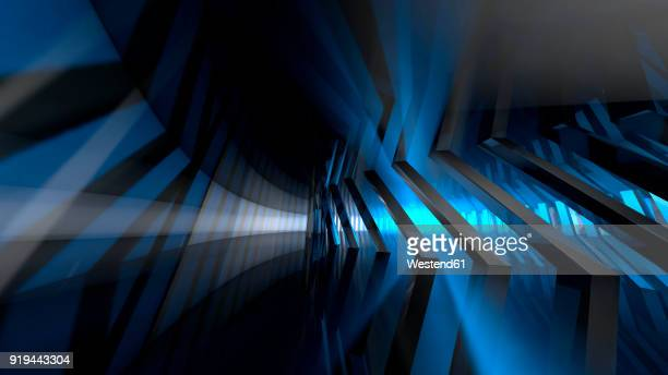 Empty corridor in a modern building in blue light, 3D Rendering