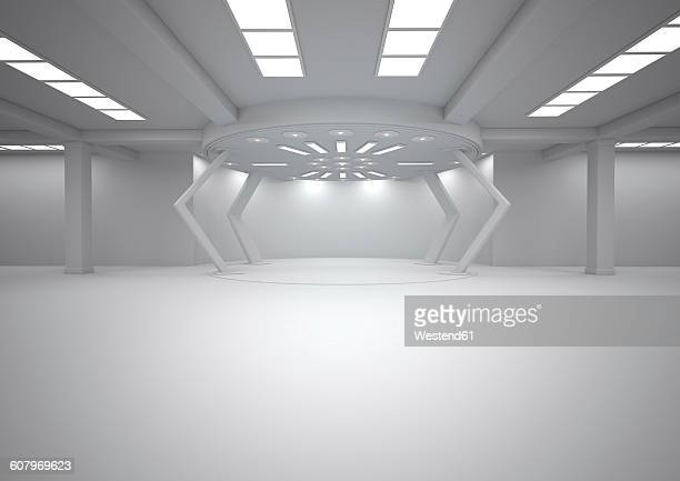 Empty futuristic room, 3D Rendering