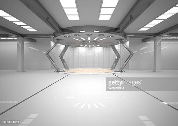 Empty futuristic room, 3D Rendering