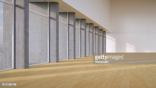 empty hall with plank flooring, 3d rendering - floorboard stock illustrations, clip art, cartoons, & icons