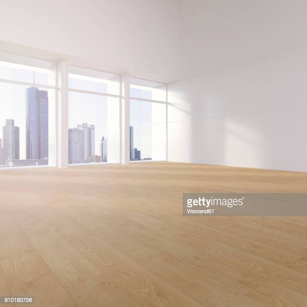 empty hall with plank flooring in a high rise, 3d rendering - loft apartment stock illustrations, clip art, cartoons, & icons
